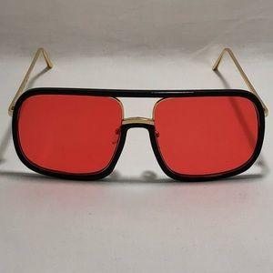 Other - Black w/ Red Lens Pilot Aviator Sunglasses